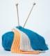 Billed af akrylgarn strikkepinde og vaskeklude