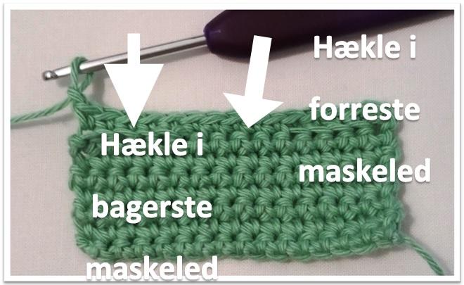 Hækling i forreste og bagerste maskeled