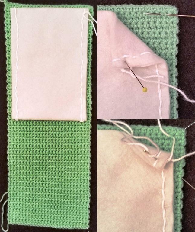 4 Sådan syes filten fast på hækle etuiet