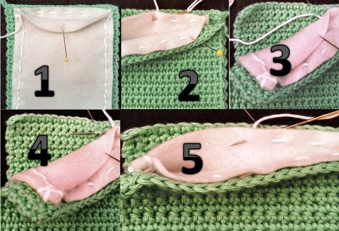 5 Sådan syes filten fast på hækle etuiet