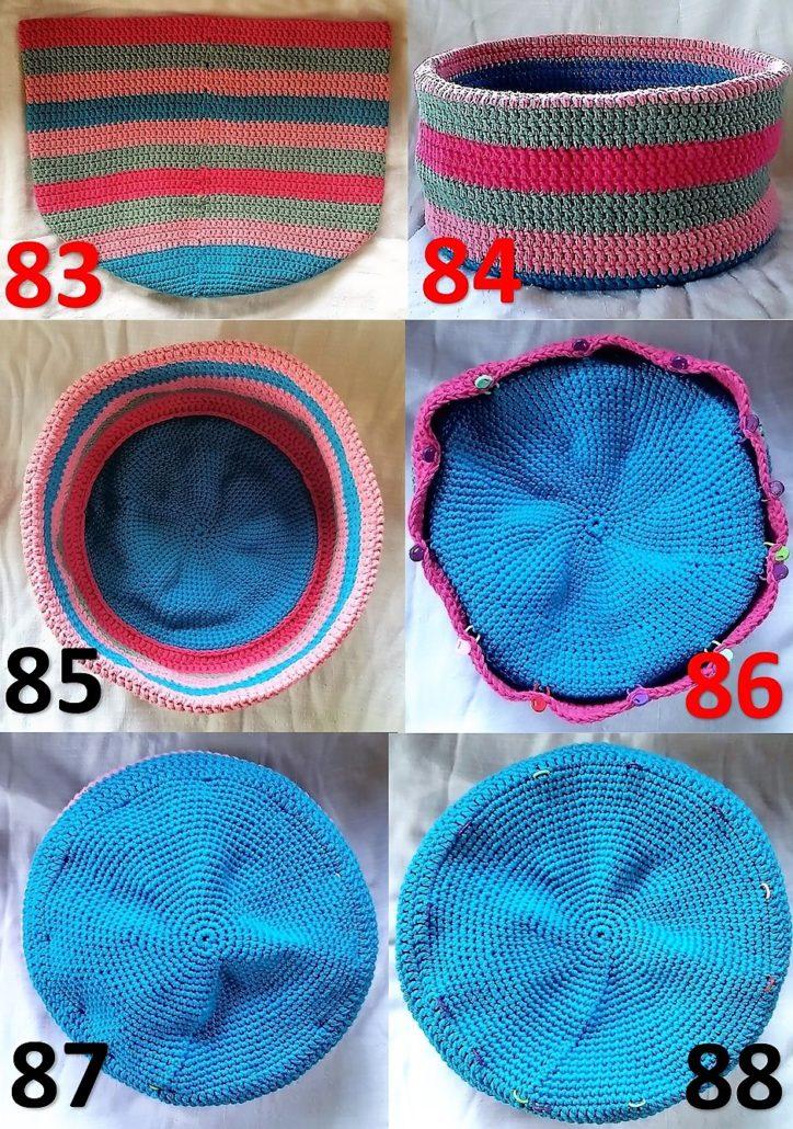 Hæklet brødkurv billed vejledning 83 til 88 færdig hæklet kurv og markeringsringene sat i til kædemaske kanten