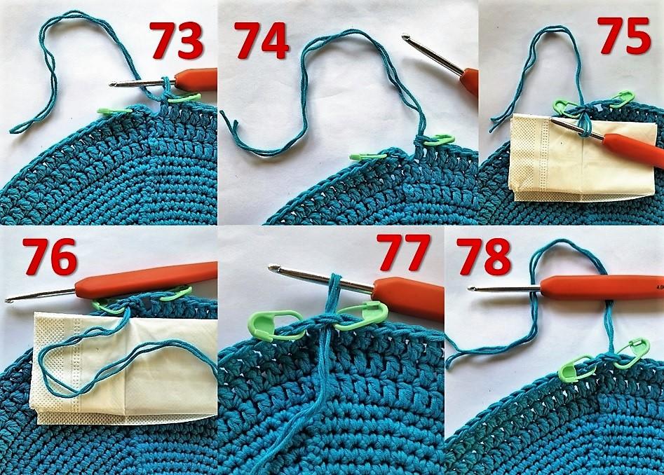 Hæklet brødkurv Billed vejledning 73 til 78 sådan skiftes der farve på en anden måde