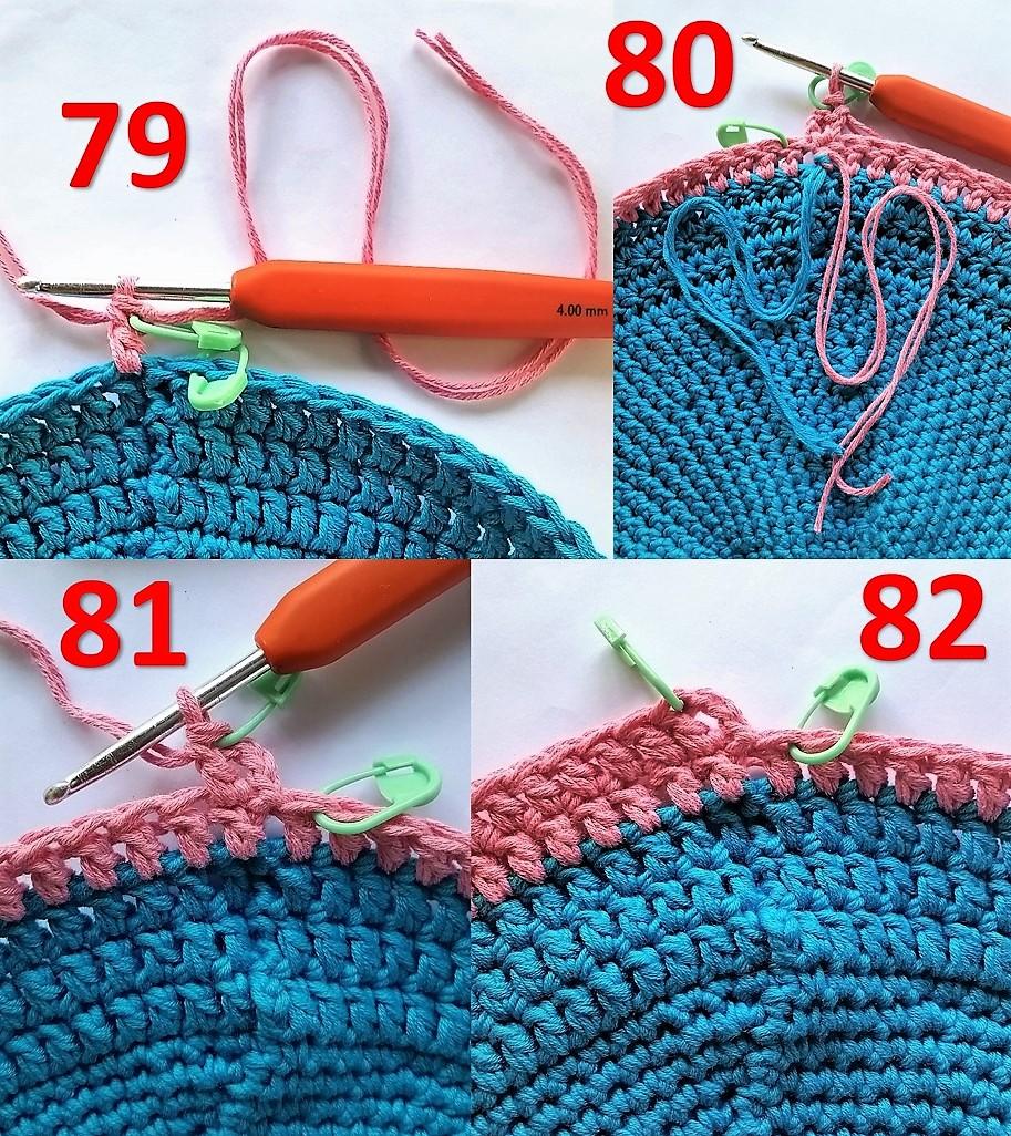 Hæklet brødkurv Billed vejledning 79 til 82 sådan skiftes der farve på en anden måde