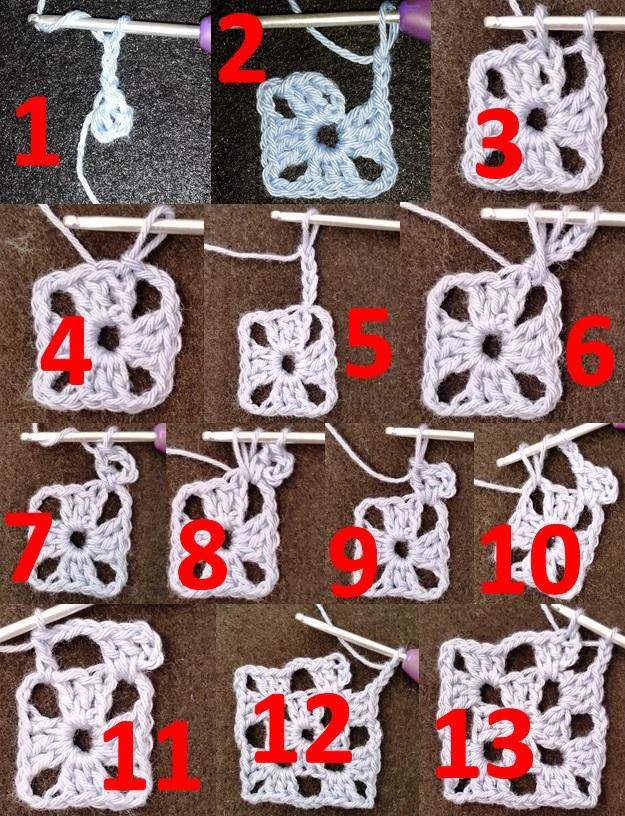 4 Række 1 og 2 på bedstmors firkant