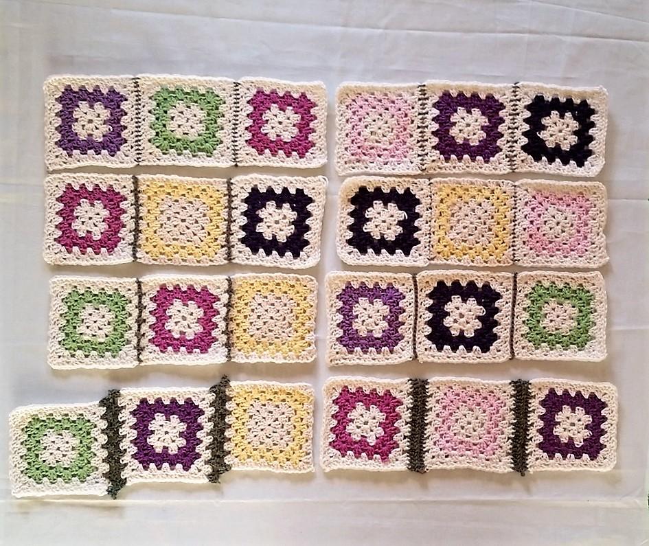 Hækle firkanter sammen på forskellige måder