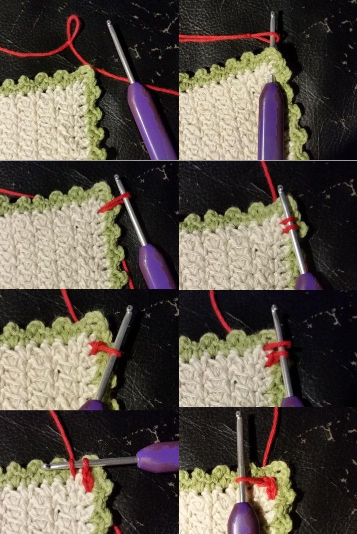 hæklet kædemaske kant billede på hvordan denne hækles