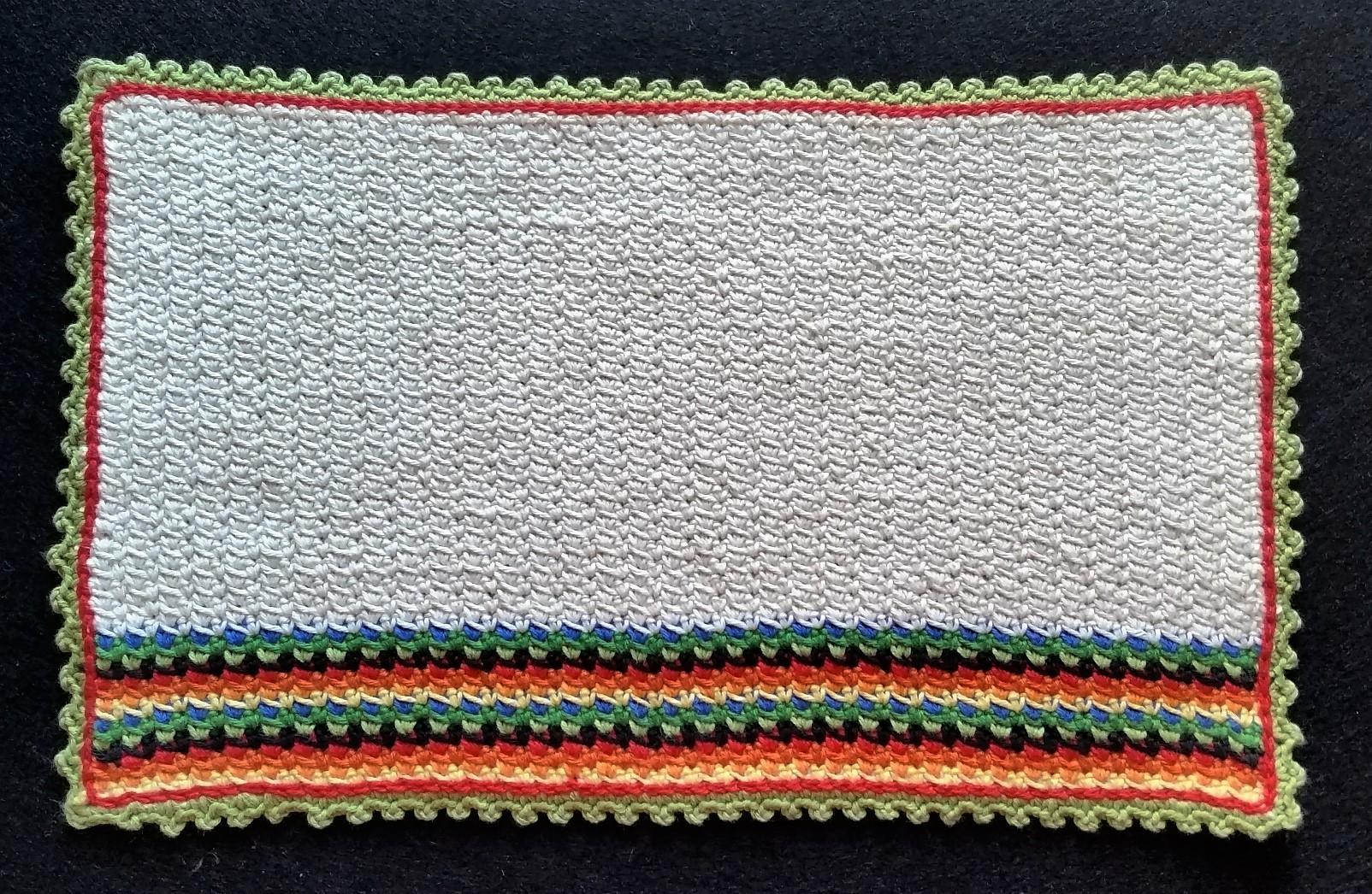hækleopskrift på vaskeklud med picot og kædemaske kant billede af den færdig hæklet vaskeklud