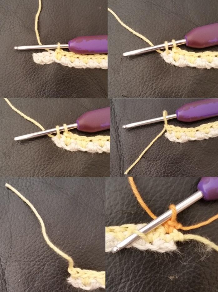 billede 3 med hækleteknik med 2 fastmasker