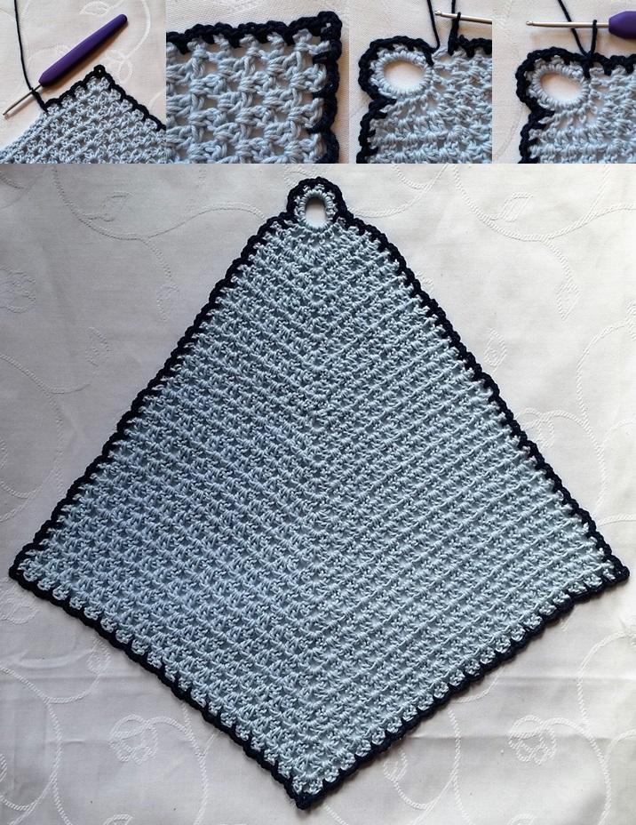 Billede vejledning 4 af hæklet vaskeklud billede af den færdig hæklet kant
