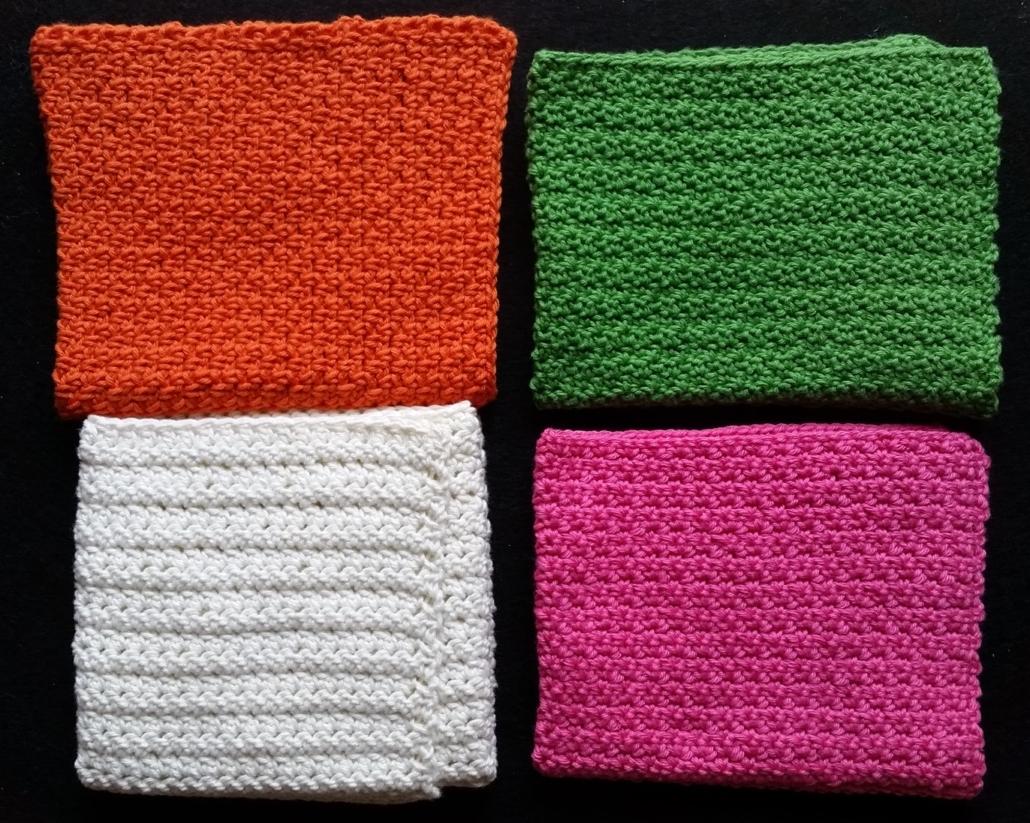 billede med 4 forskellige hæklemønster billede med 4 vaskeklude i de 4 forskellige hæklemønster