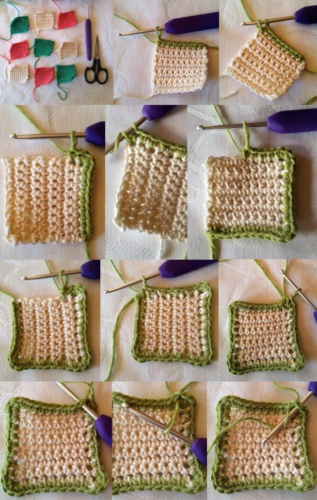 hækle en fastmaske kant billed af hvordan en fastmaske kant hækles rundt om firkanten