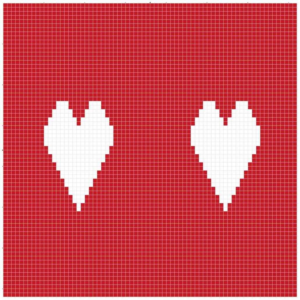 billed af tegnet strikkemønster på strikkeopskriften til hjerteposen