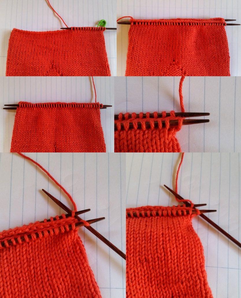 Billed af sammenstrikning af bunden på hjerteposen