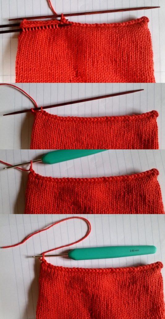 billed 3 af sammen strikning af bunden på hjerteposen