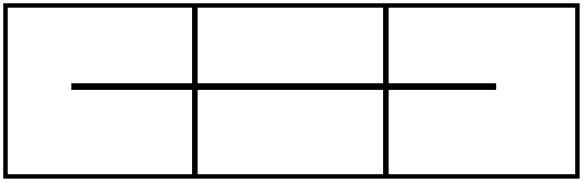 Billed 35 Tre firkanter og hvor du ser en streg betyder at du skal strikke 3 vrang sammen