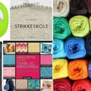 Billed med hæklebøger og strikkebøger samt hæklenåle og strikkepinde samt Mayflower junior cotton 8 4