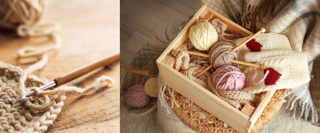Billed af stikketøj med strikkepinde og hækletøj med hæklenål
