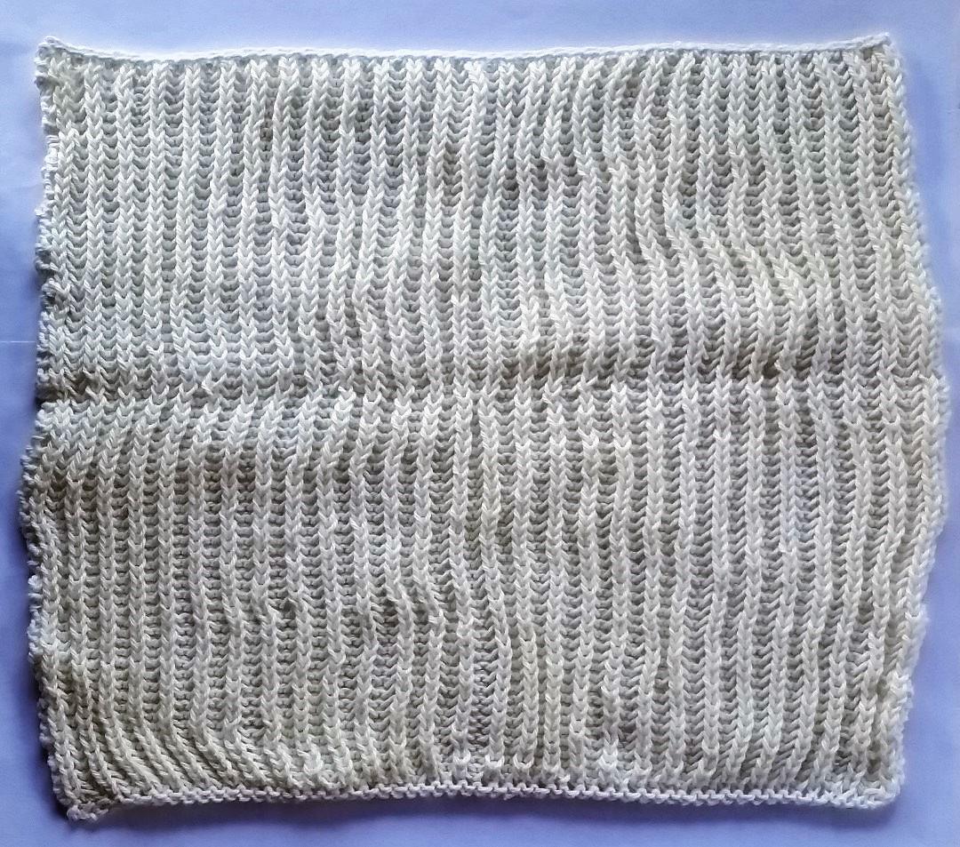 billed af færdig strikket vaskeklud i helpatentstrik