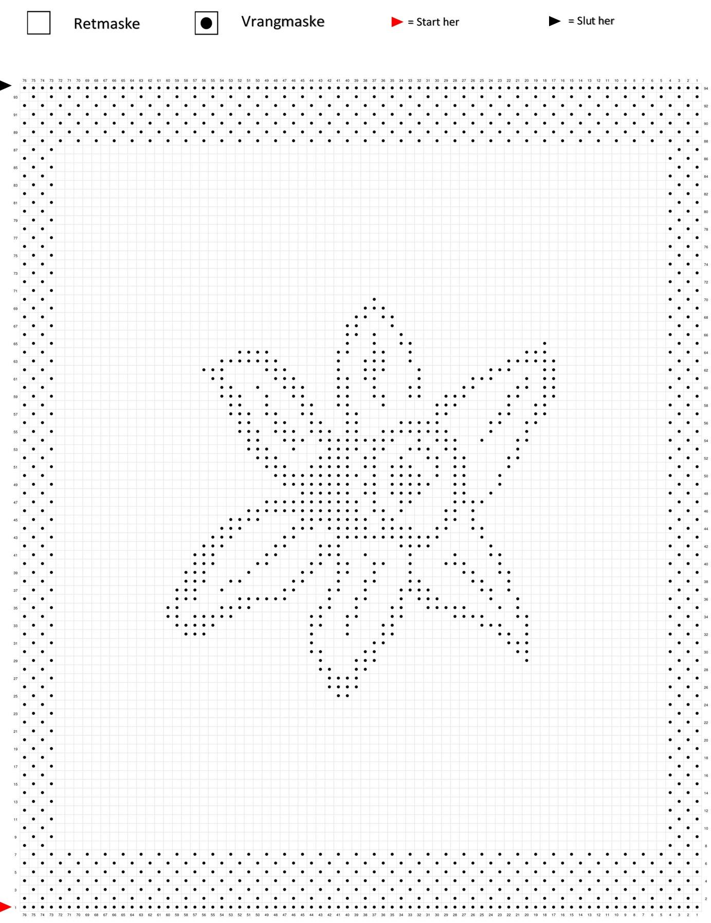 Påskelilje mønster på strikkediagram til klud