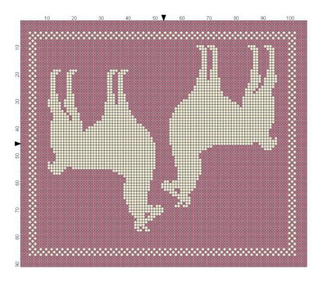 Billed af strikkediagram med et Lama par i del 7 til strikke KALen