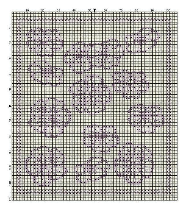 Billed af strikkemønster med hørblomster til del 8