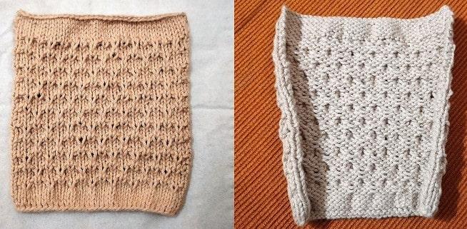 Billed af test strikkede hjerte relief strikkeprøve