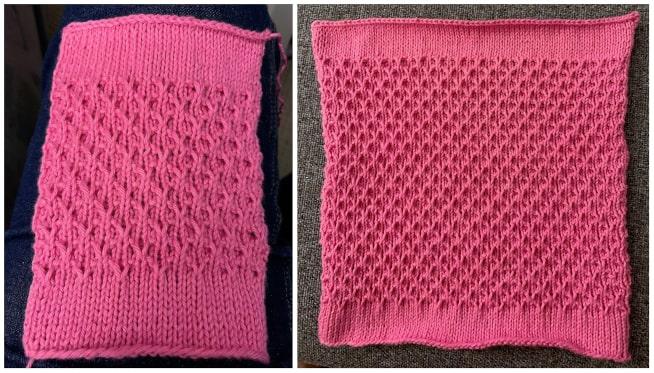Billed af teststrikning med hjerte relief strikkemønster
