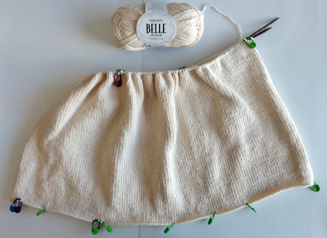 Inderstykket strikket til et indkøbsnet